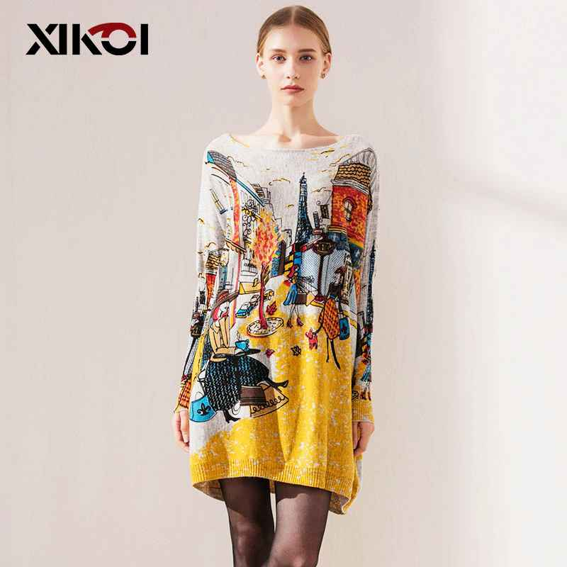 Xikoi Autumn Fashion Women s Clothing Long Sweaters Slash Neck Batwing