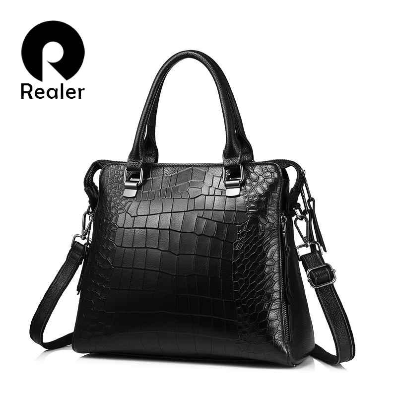 Women Genuine Leather Handbags Fashion Crocodile Pattern Totes Evening Package