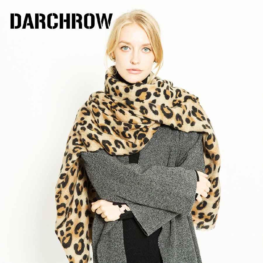 Darchrow Leopard Printed Scarf Women Winter Blanket Scarf Warm Soft