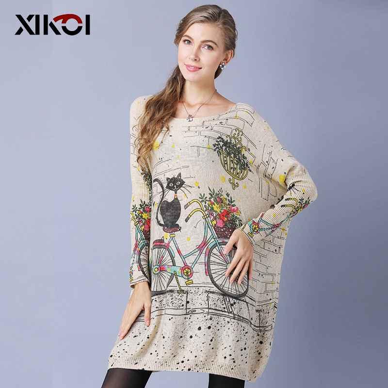 Xikoi Woman Oversize Sweater Winter Long Cat Bicycle Print Casual