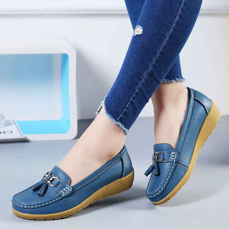 Boat Shoes Women Fashion Sneakers Genuine Leather Shoes Tassel Fringe