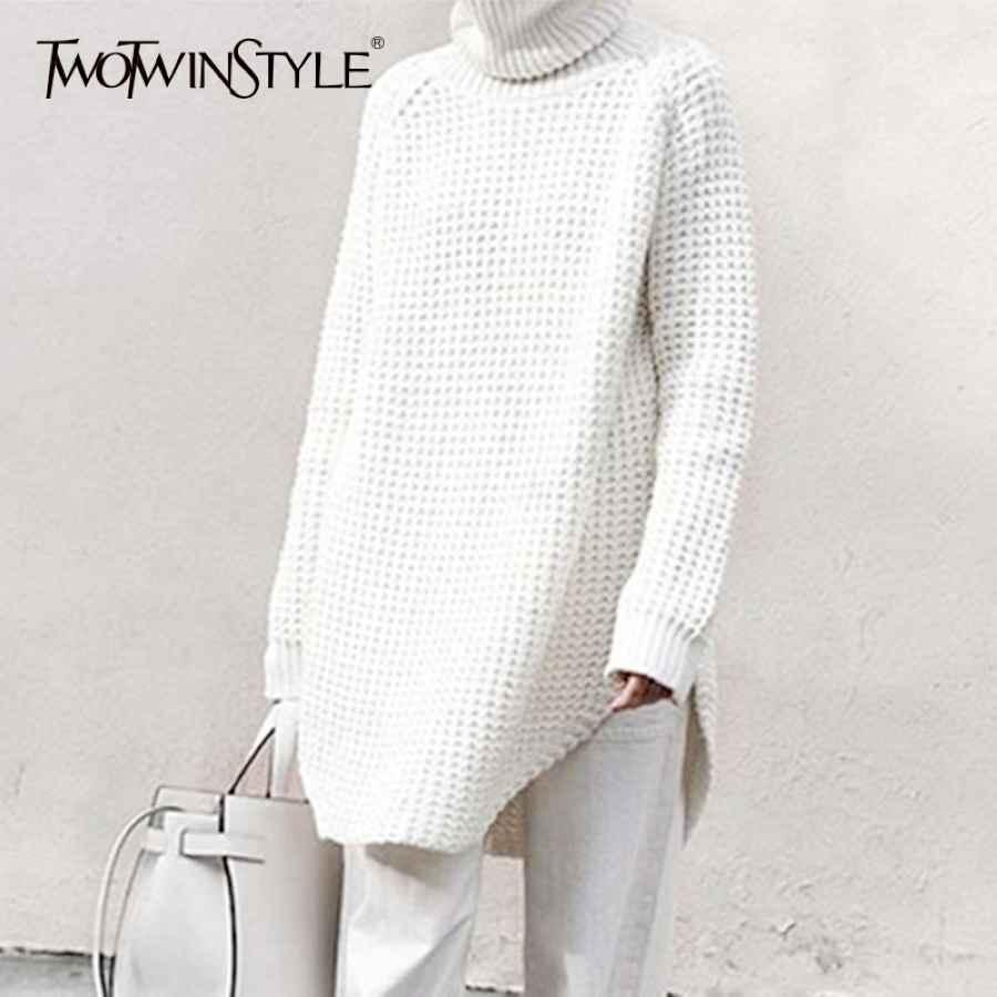 Hollow Out Sweater For Women Turtleneck Split Long Sleeve Midi