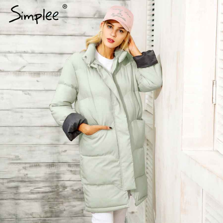 Cotton Padded Warm Black Parka Women Jacket Zipper Pocket Outerwear