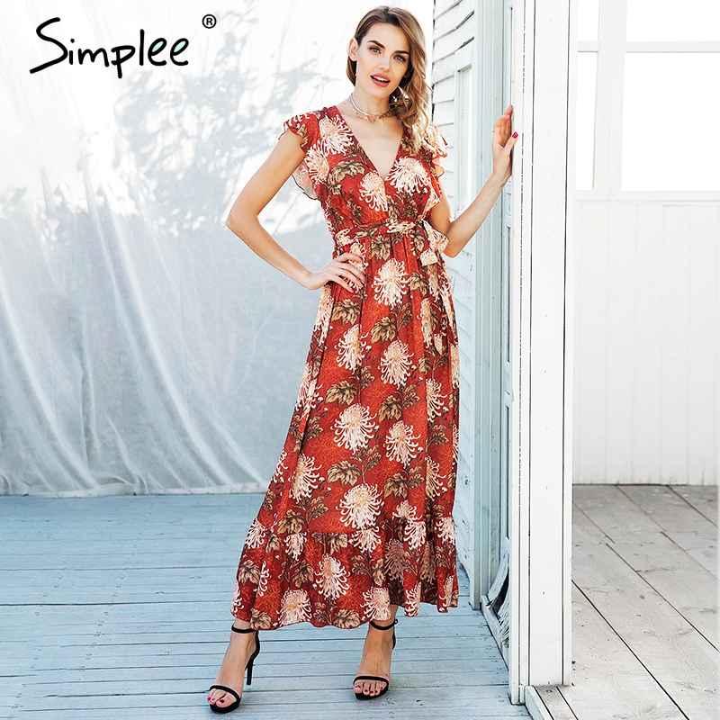 Floral Print Dresses Simplee V Neck Ruffle Boho Print Dress