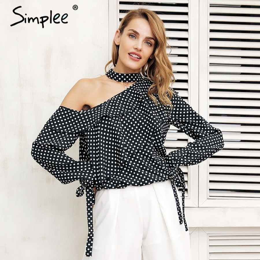 One Shoulder Polka Dot Blouse Shirt Ruffle Lantern Sleeve Vintage