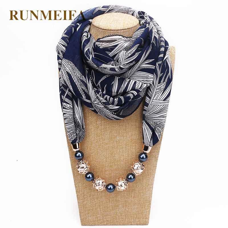 Runmeifa New Pendant Scarf Necklace Bohemia Necklaces For Women Chiffon