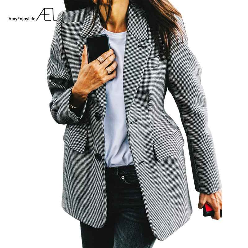 Blazers ael plaid womens blazer long sleeve lapel collar pocket