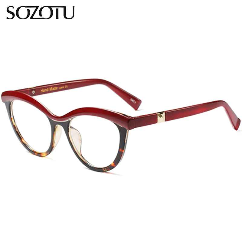 Sozotu Cat Eye Optical Eyeglasses Frame Women Myopia Computer Glasses
