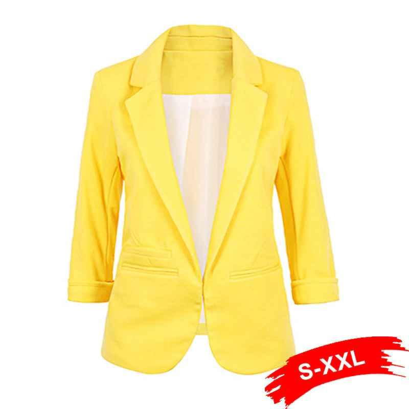 Blazers ladies plus size yellow blazer feminino formal jacket womens