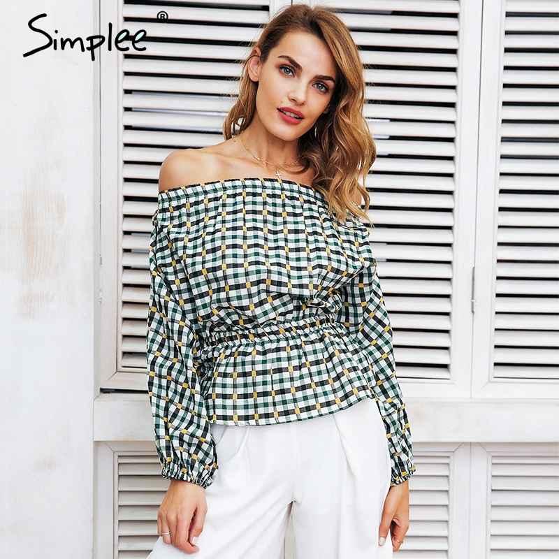 Blouses Shirts Simplee Off Shoulder Plaid Blouse Shirt Women Elastic