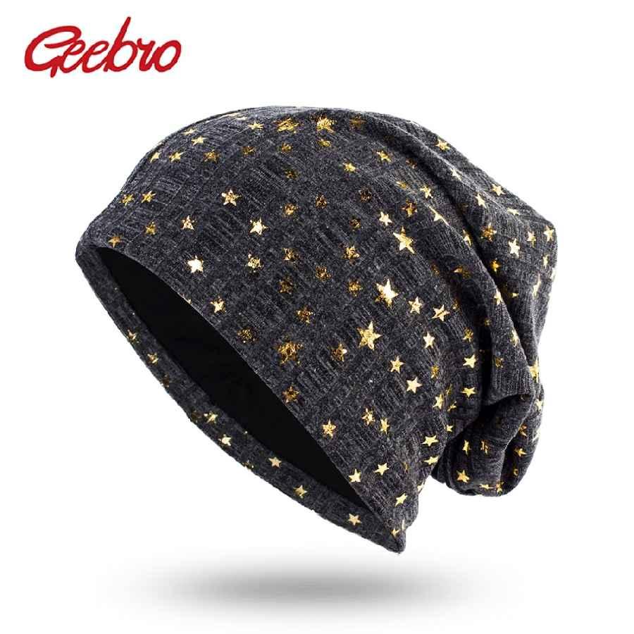 Geebro Women s Bronzing Star Beanies Hat Spring Cotton Slouchy Beanie