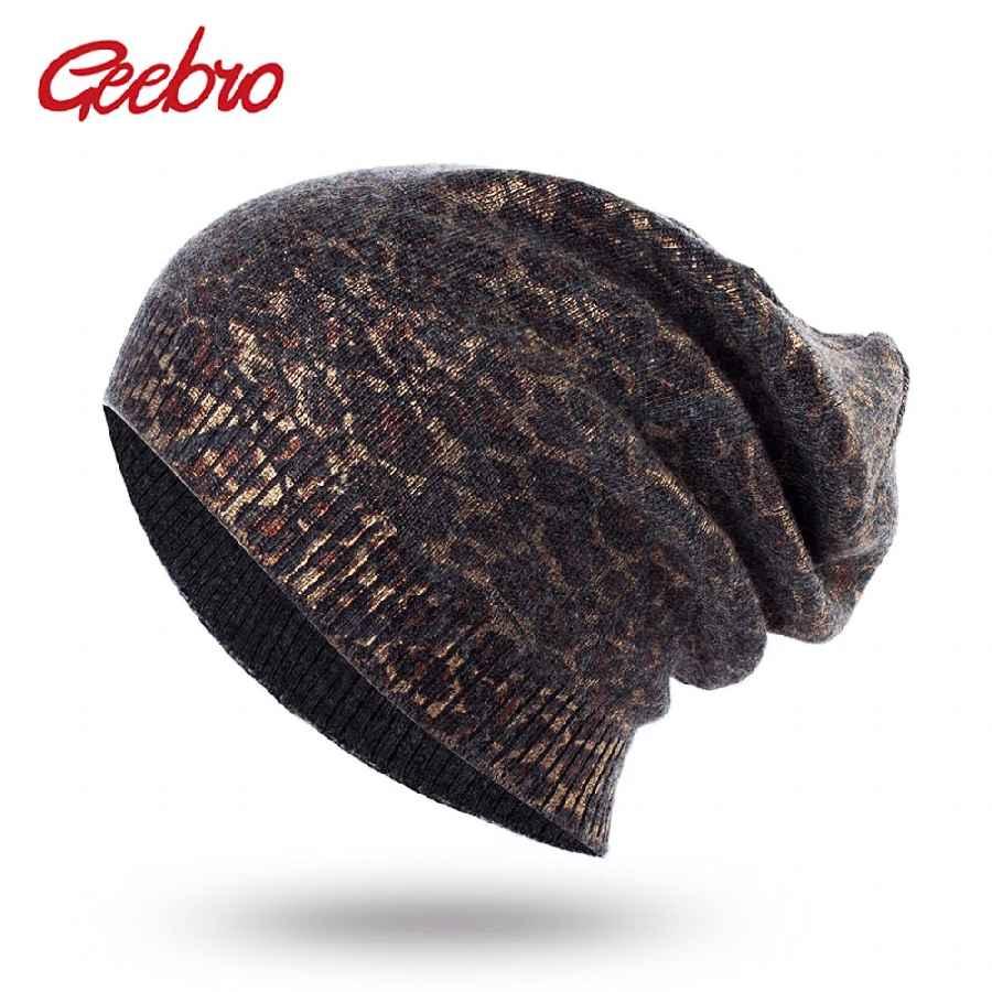 Geebro Women s Leopard Knit Cashmere Beanie Hat Spring Single Layer