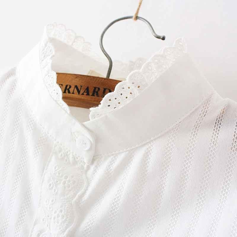 Blouses women lace white shirts summer spring long-sleeve ruffled 100%
