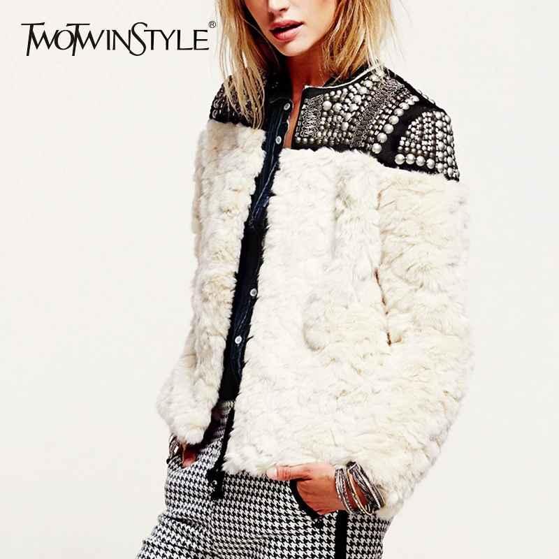 Fleece Rivet Coat For Women Faux Fur Patchwork Long Sleeve