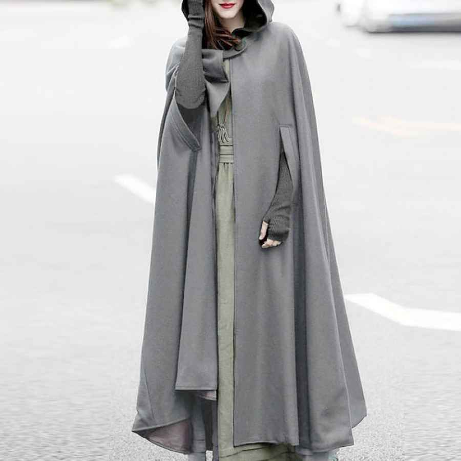 Zanzea Women Winter Hooded Open Front Cloak Loose Solid Long