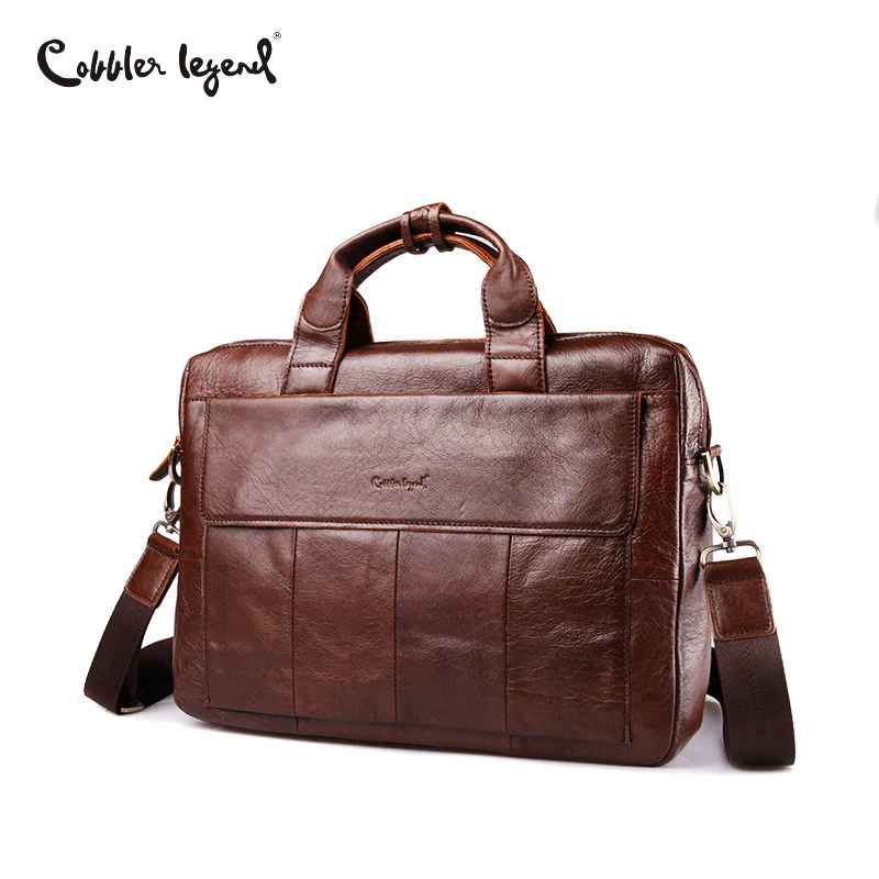 Famous Brand Genuine Leather Men Business Briefcase Laptop Bags Men's