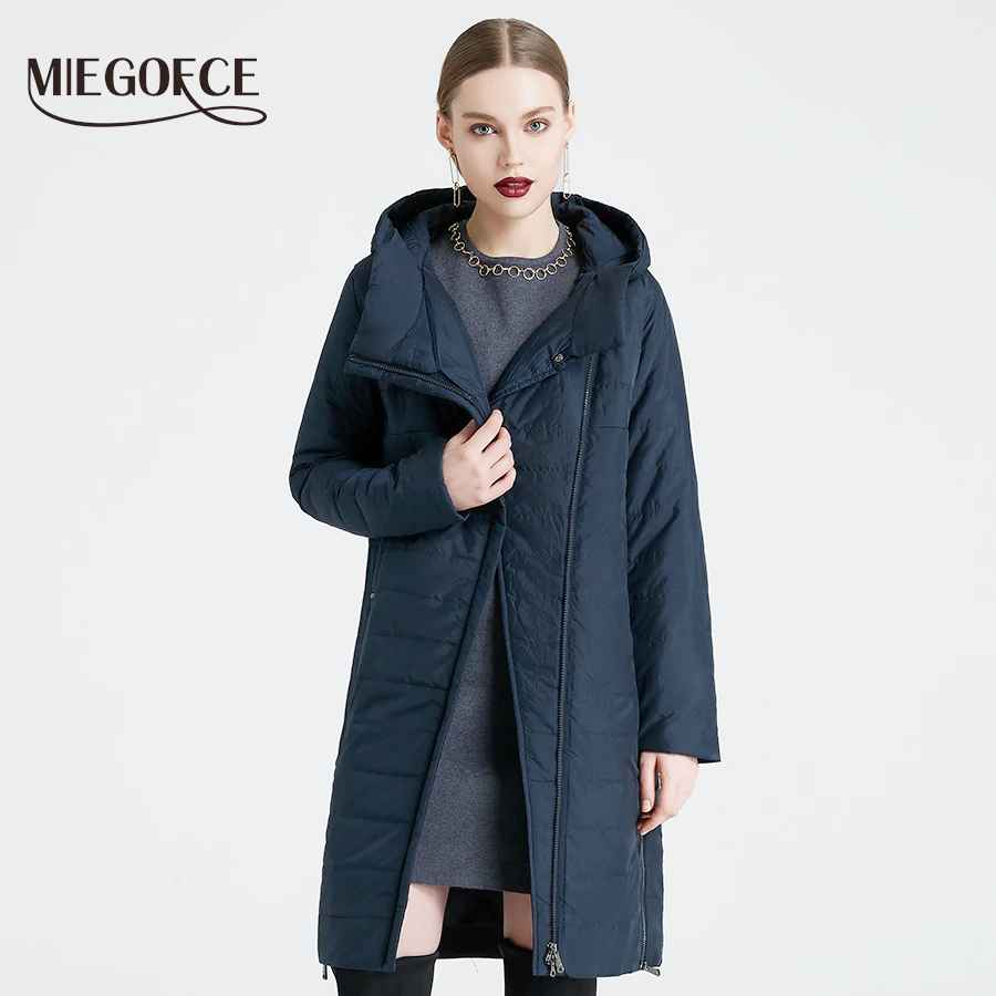 Miegofce 2019 Spring Women Jacket With A Curve Zipper Women