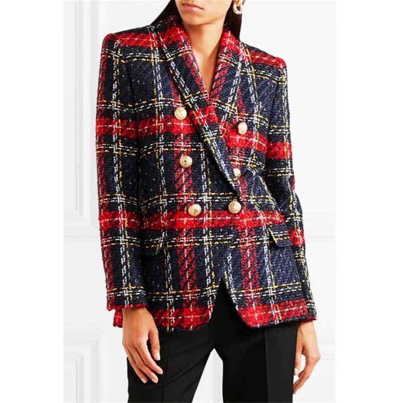 Blazers 2019 euramerican new fashion popular line and plaid knitting