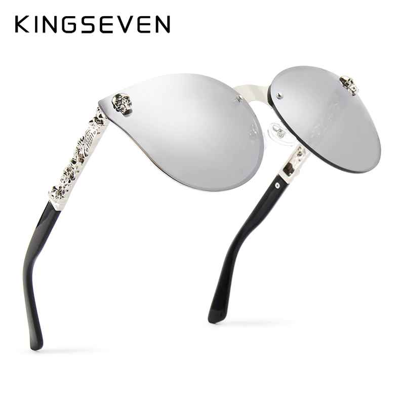 Luxury Brand Fashion Women Gothic Mirror Eyewear Skull Frame Metal