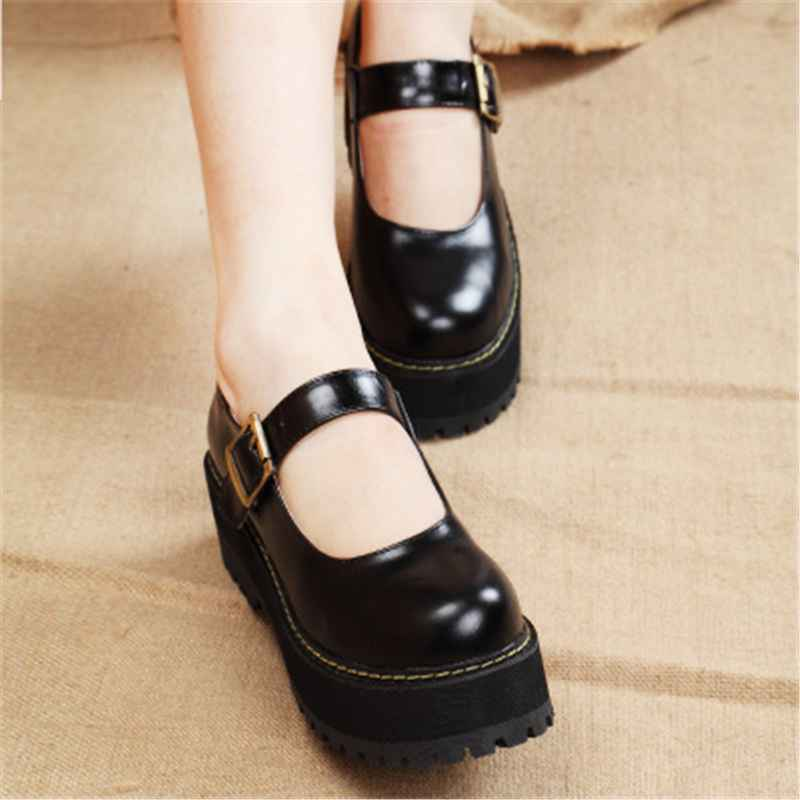 New 2019 Women Creepers Pu Women Flats Platform Jk Mary