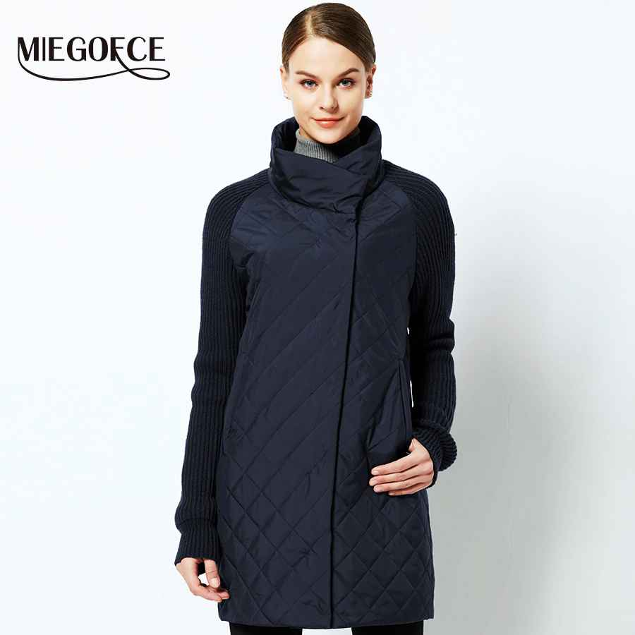 Miegofce 2019 Spring-Autumn Women Jacket With A Collar Knitted Sleeve