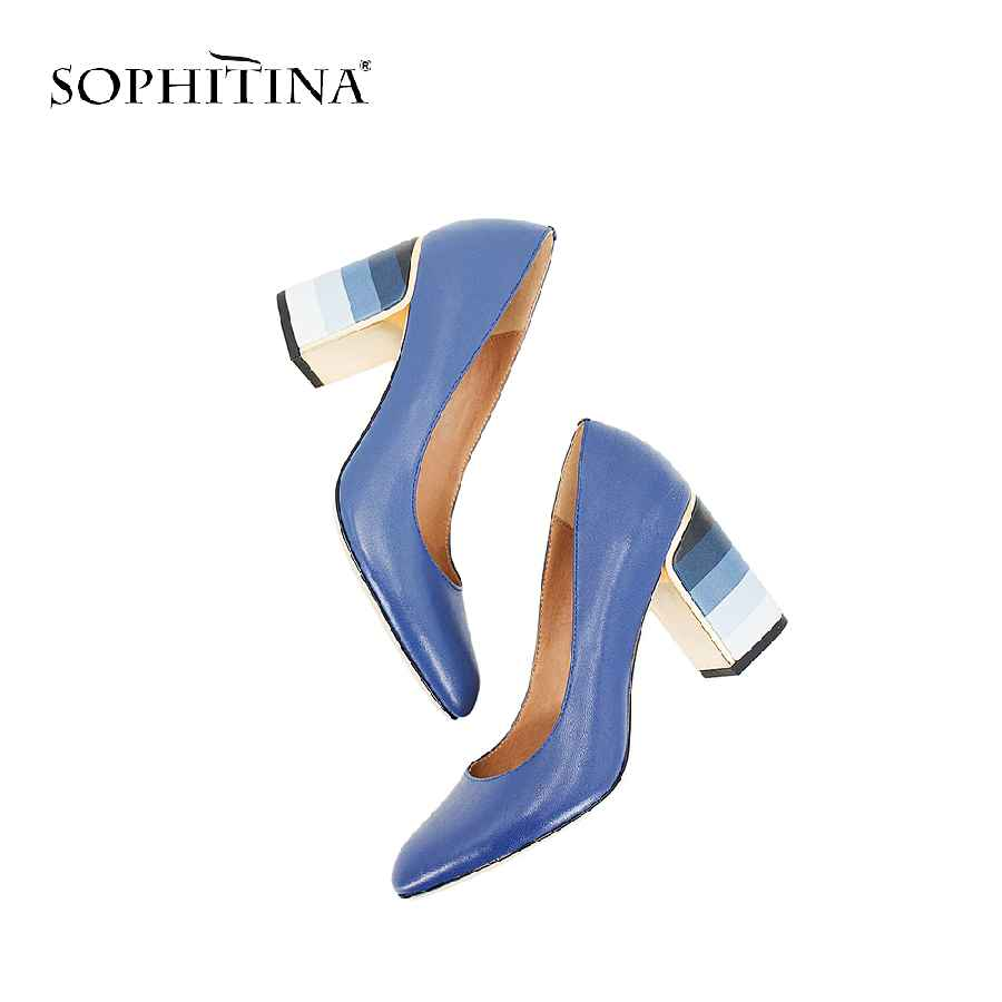 Sophitina 2019 Hot Sale Pumps Fashion Colorful Square Heel High