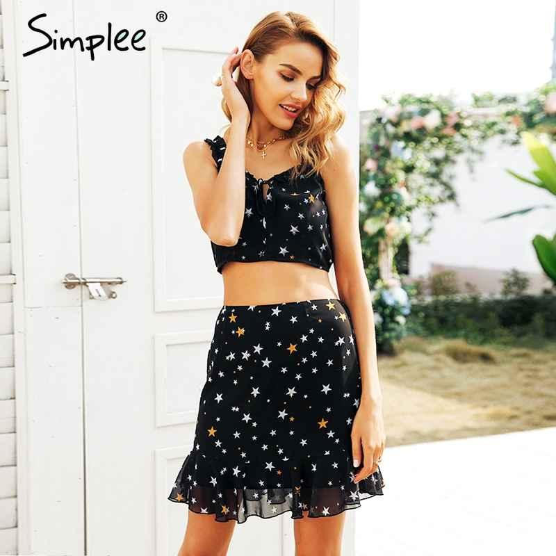 Autumn Winter Dresses Simplee Star Print Ruffle Summer Dress Women