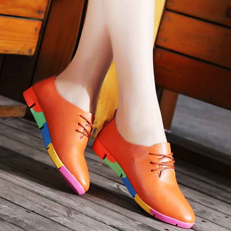 2019 New Breathable Genuine Leather Flats Shoes Woman Sneakers Tenis
