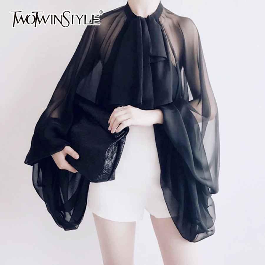 Bowknot Chiffon Blouse Shirt Women Lantern Sleeve Tulle Transparent Tops