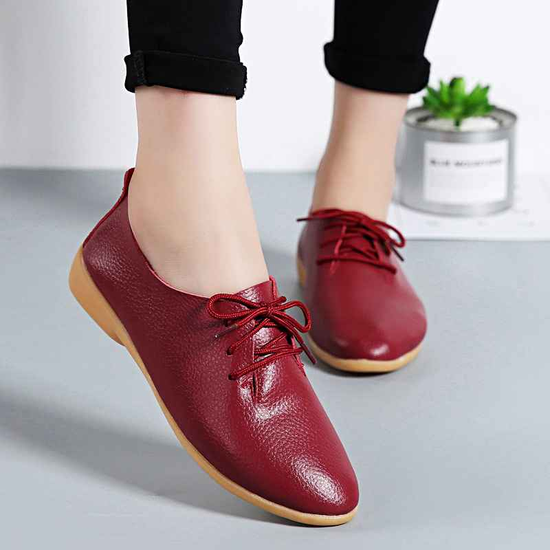 Women Flats Genuine Leather Shoes Summer Fashion Casual Comfortable Women