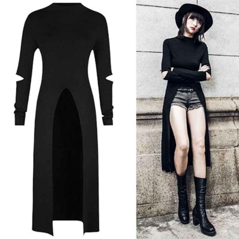 2019 Newest Retro Dress Women Fashion Autumn Punk Gothic Streetwear