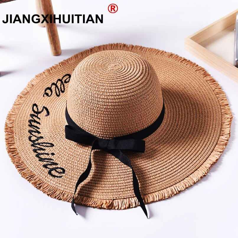Handmade Weave Letter Sun Hats For Women Black Ribbon Lace