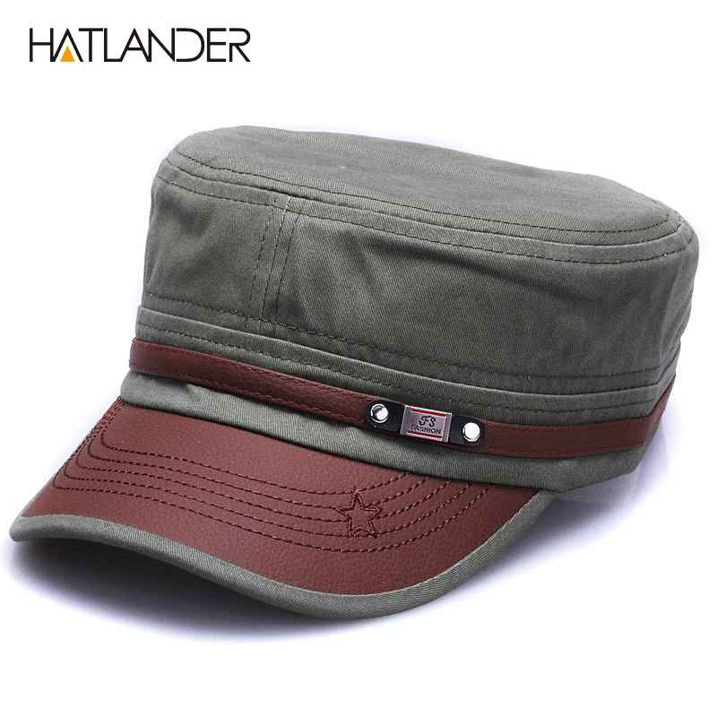 HatlanderNew Fashion Cotton Military Hats For Men Women Adjustable Flat