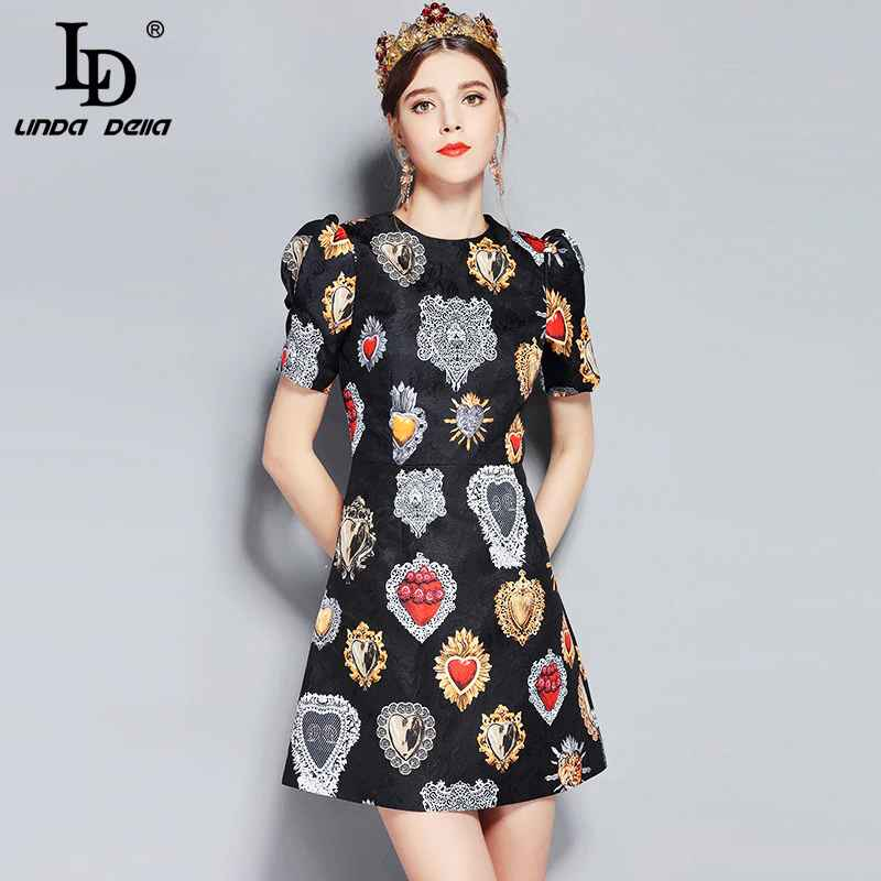 New Fashion Runway Summer Dress Women's Short Sleeve Love Diamond