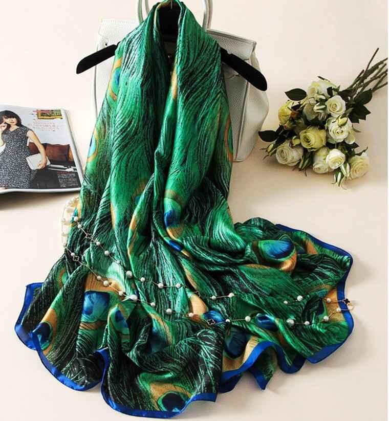 Silk Scarf Women Print Scarf FlowerBirdsLeafChains 100% Natural Silk Wraps