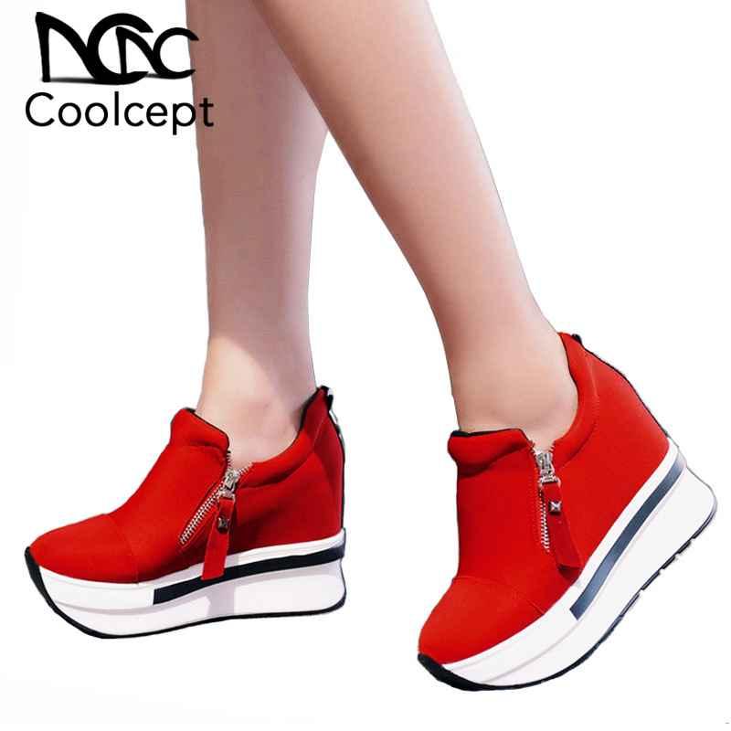 Coolcept Women Spring Shoes Women Fashion Platform Pumps Zip High