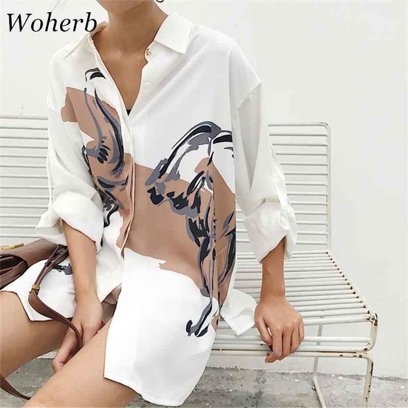 Blouses woherb 2019 oversized shirt printed vintage long sleeve blouse