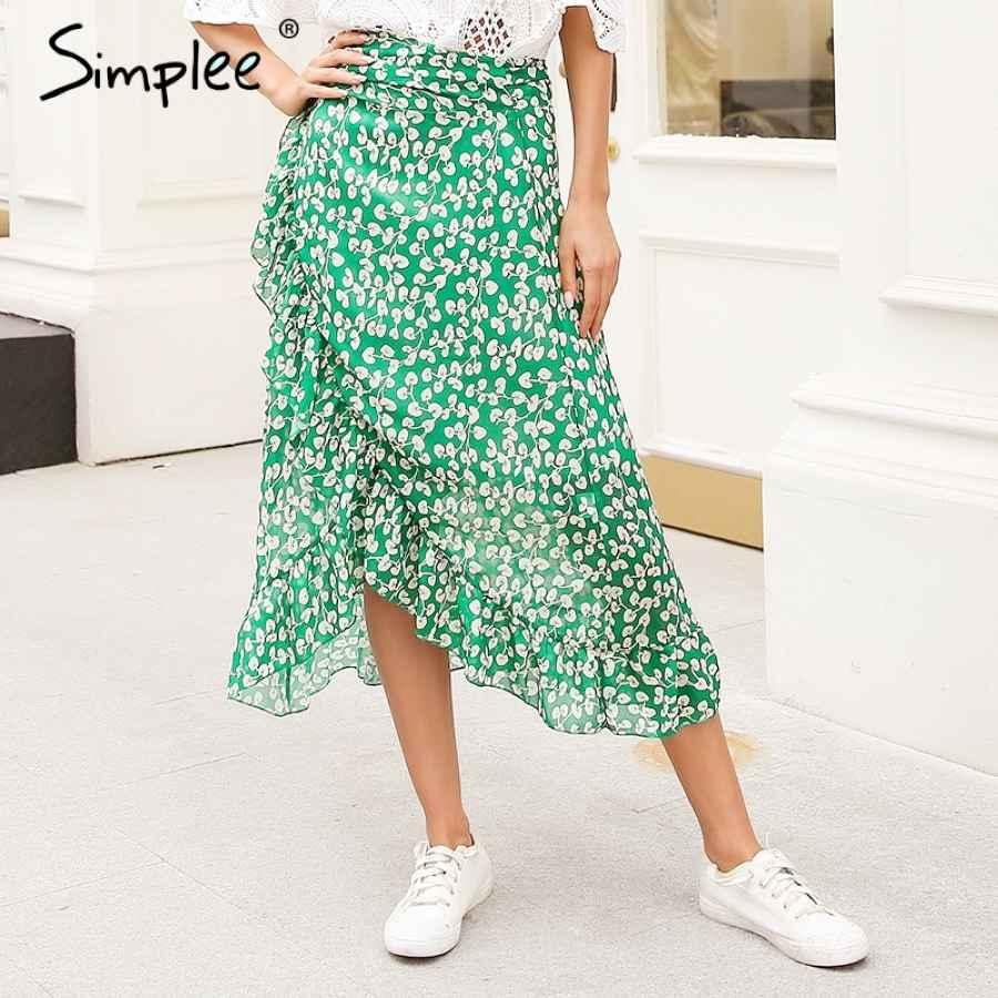 Ruffle Leaf Print Wrap Skirt Women Sash Tie Up Beach