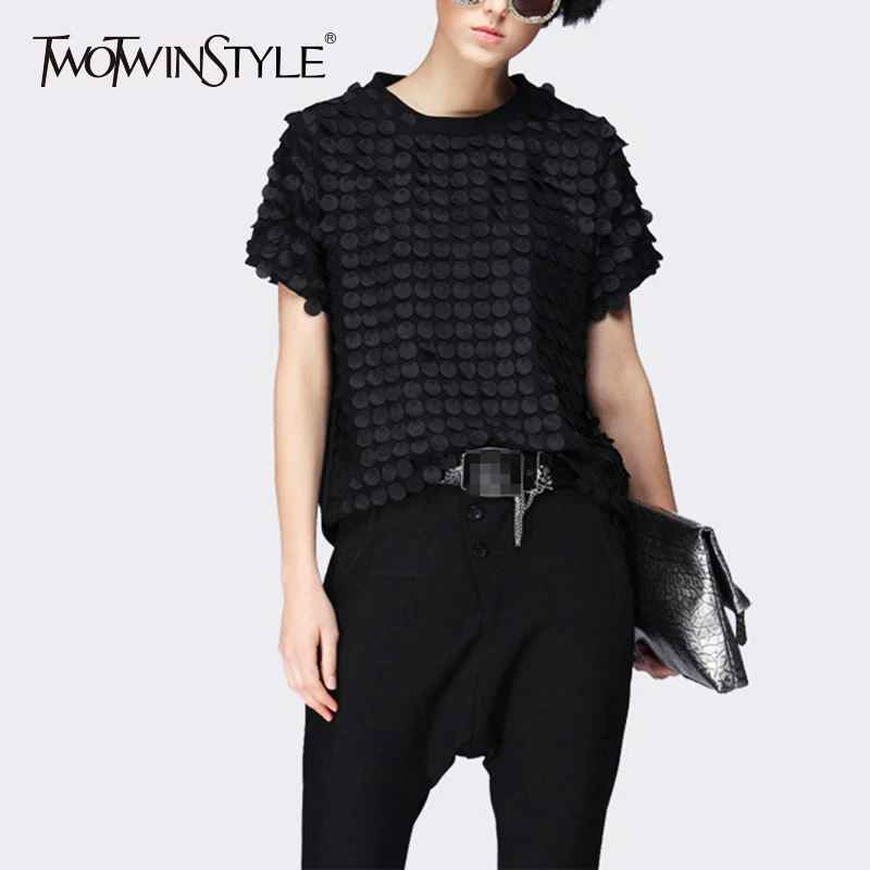Ruffles Black T Shirt Ladies Patchwork O Neck Short Sleeve