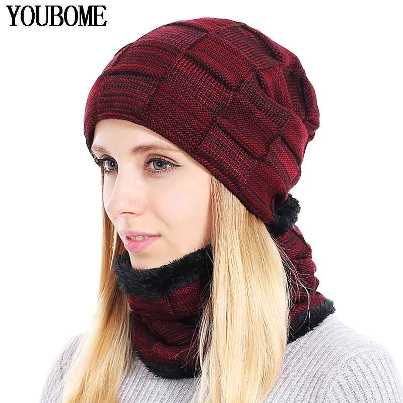 Youbome Knitted Hat Scarf Winter Skullies Beanies Female Winter Hats