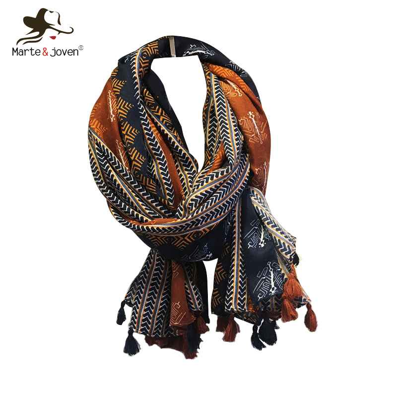 Marte&Joven Retro Geometric Printing Warm Scarf Shawls For Women Fashion