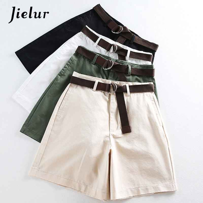 Shorts jielur all-match 4 solid color sashes casual women shorts