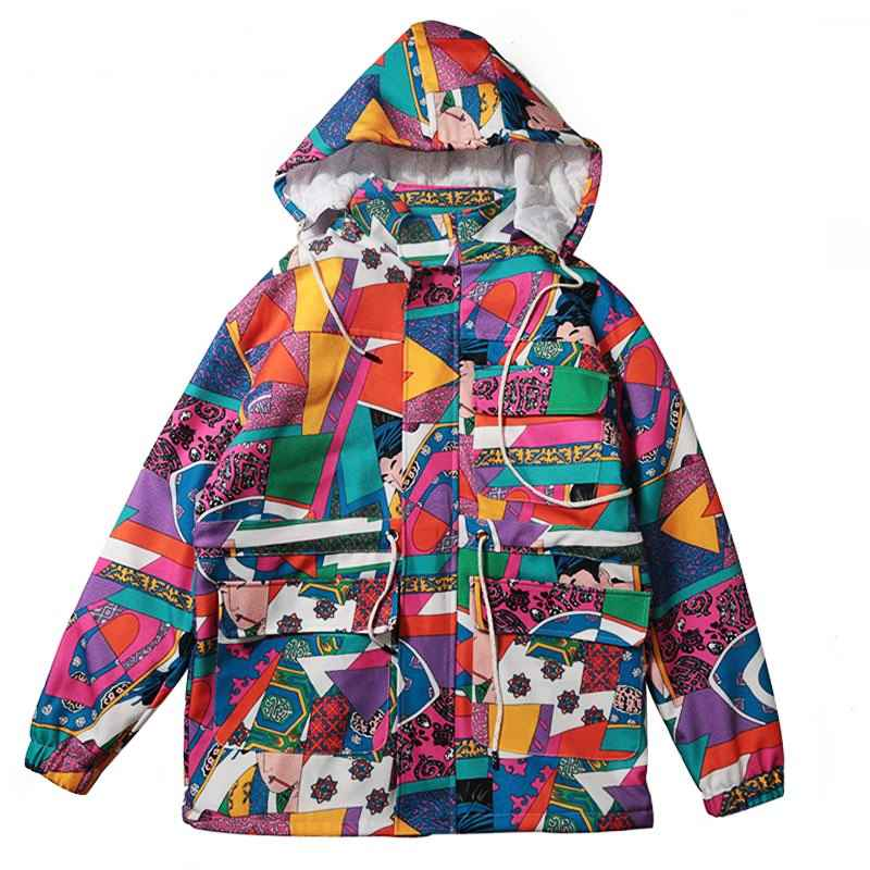 New Color Block Patchwork Jacket Woman Hip Hop Removable Hooded