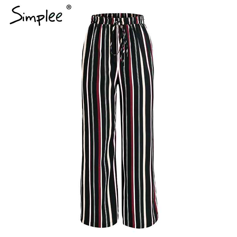Pants Simplee Stripes Floral Print Casual Pants Capri Split Loose