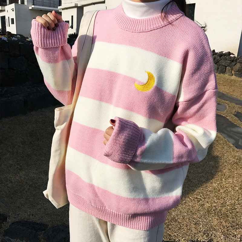 Sweaters womens sweaters kawaii ulzzang college candy color stripes moon