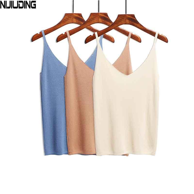 Nijiuding Summer Women Tank Tops Casual Shiny Ice Silk Knitted