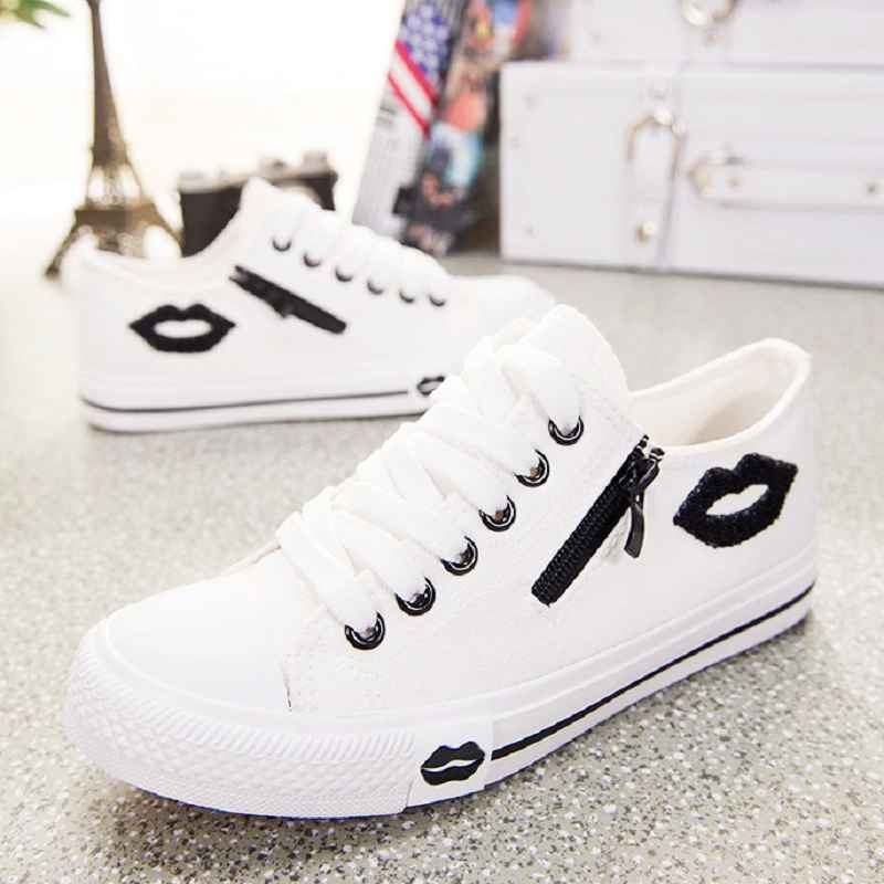 Vulcanize Casual Canvas Shoes Basket Femme White Sneakers Women Zip