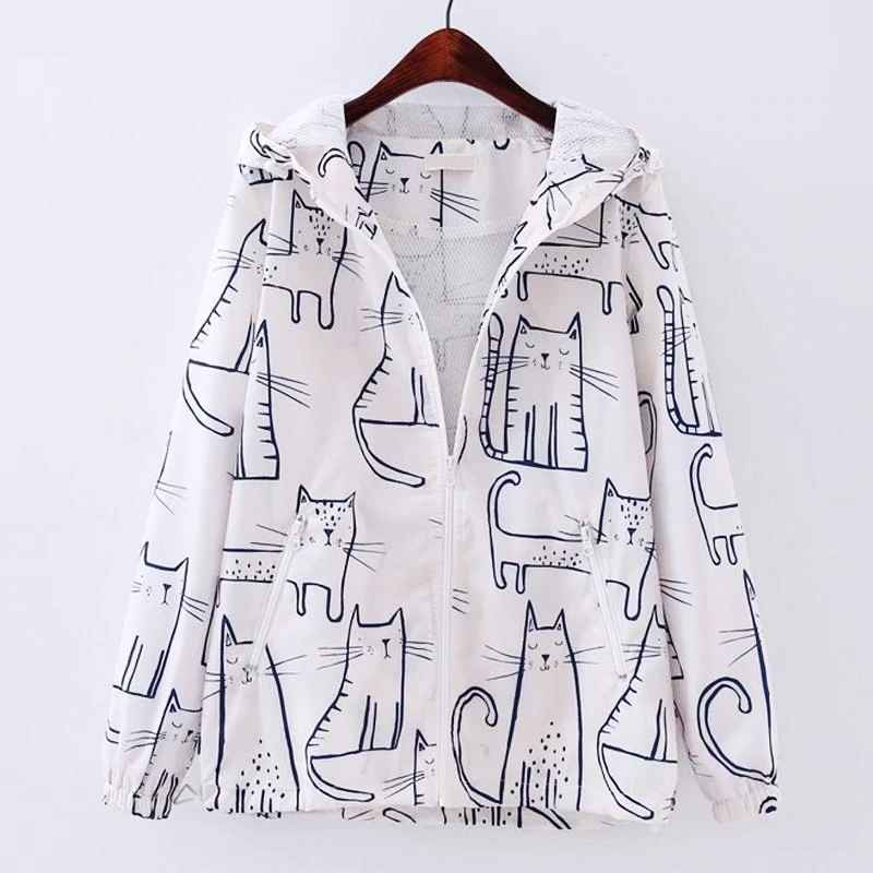 Spring Autumn Thin Jacket Coat Women Cartoon Cat Pot Harajuku