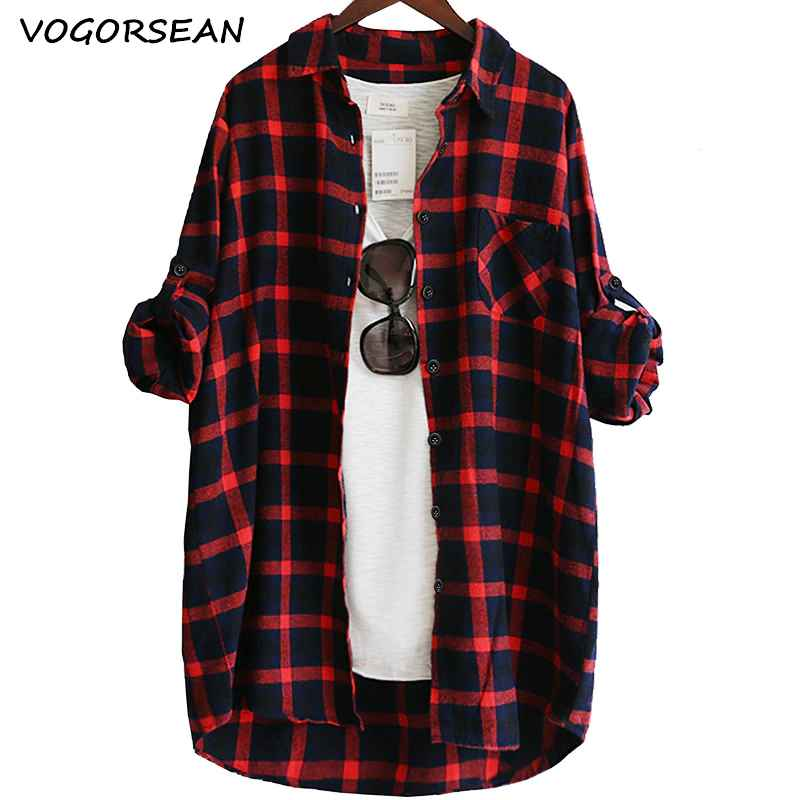Blouses vogorsean cotton women blouse shirt plaid 2019 loose casual