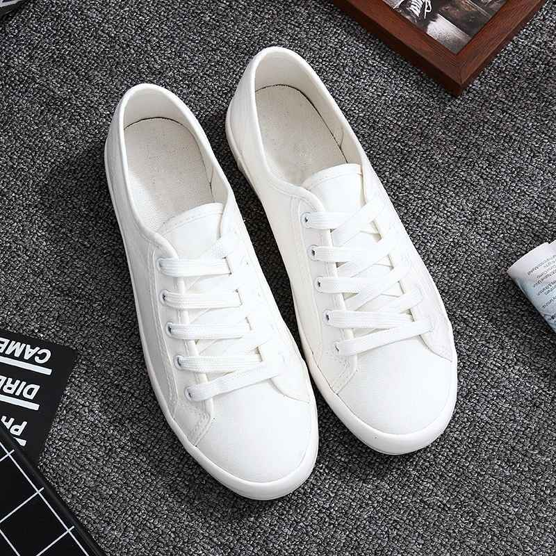 Classic White Sneakers Women Casual Canvas Shoes Female Summer Lace-Up